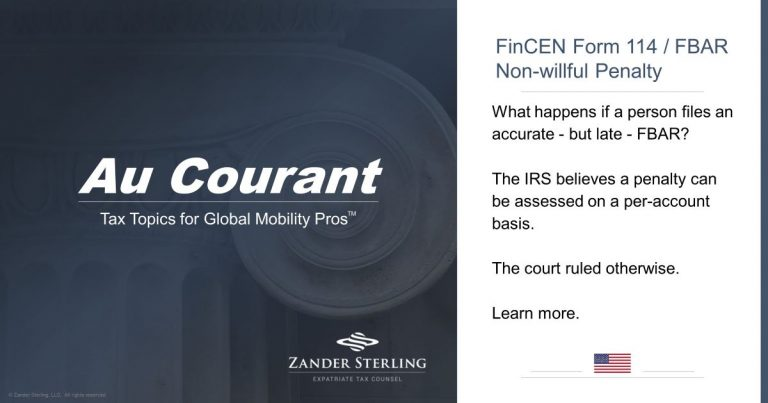FinCEN Form 114 / FBAR:  Non-willful Penalty